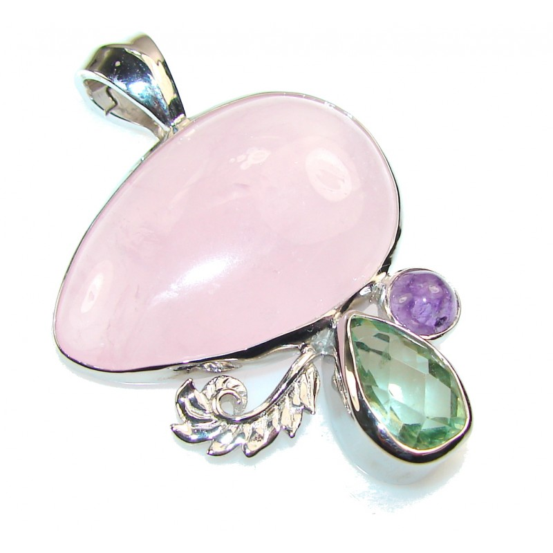 Passion AAA Pink Rose Quartz Sterling Silver pendant
