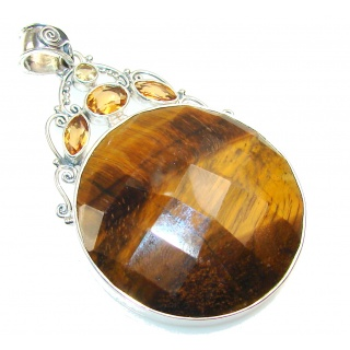 Beautiful Tigers Eye Sterling Silver Pendant