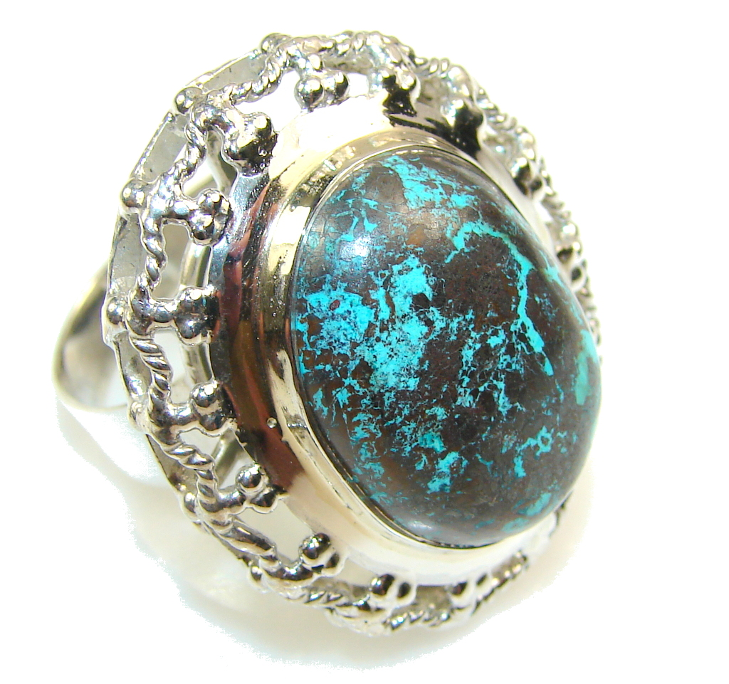 big fabulous color of chrysocolla sterling silver ring s