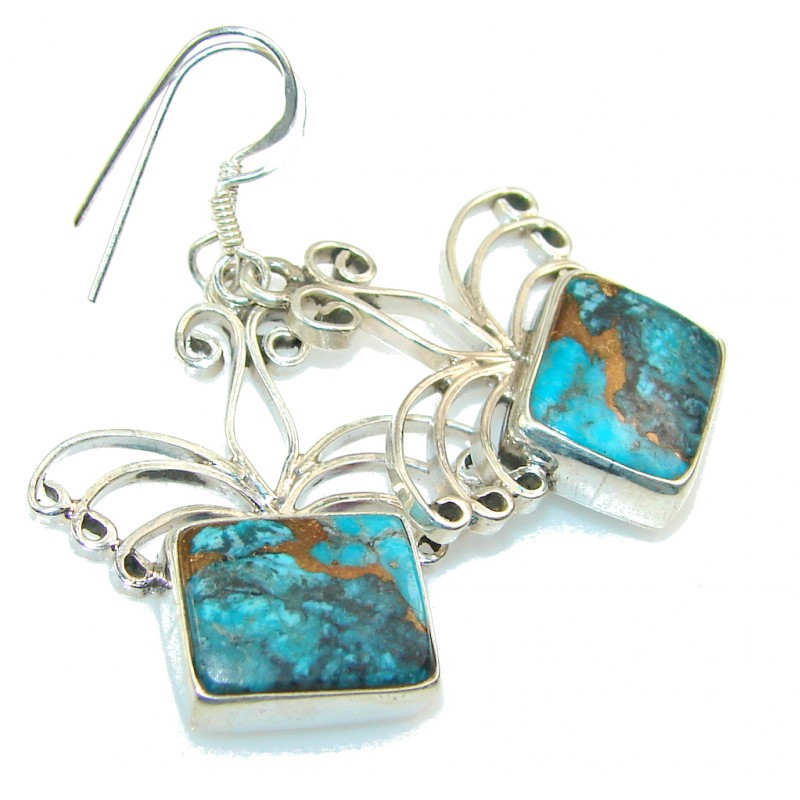 Perfect Blue Copper Turquoise Sterling Silver earrings