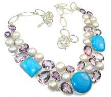 Awesome Blue Sea Sediment Jasper Sterling Silver necklace