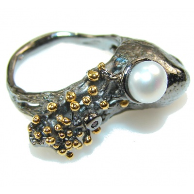Amazing Italy Made Fresh Water Pearl Rhodium Plated Sterling Silver ring; 8 1/2