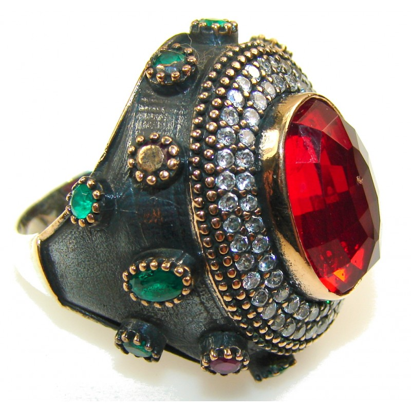 Turkish Design Of Red Quartz Sterling Silver Ring s. 10 1/2