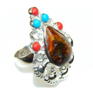 Stylish Multicolor Polish Amber Sterling Silver Ring s. 9