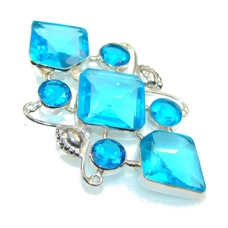 Sweet Created Swiss Topaz Quartz Sterling Silver Pendant
