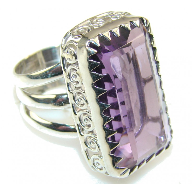 Created Purple Amethyst Sterling Silver ring s. 8 1/2