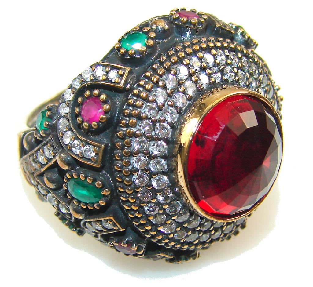 Turkish Design Of Red Quartz Sterling Silver Ring s. 10 ...