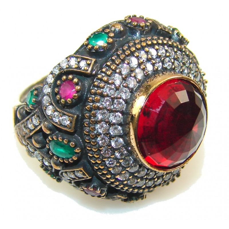 Turkish Design Of Red Quartz Sterling Silver Ring s. 10