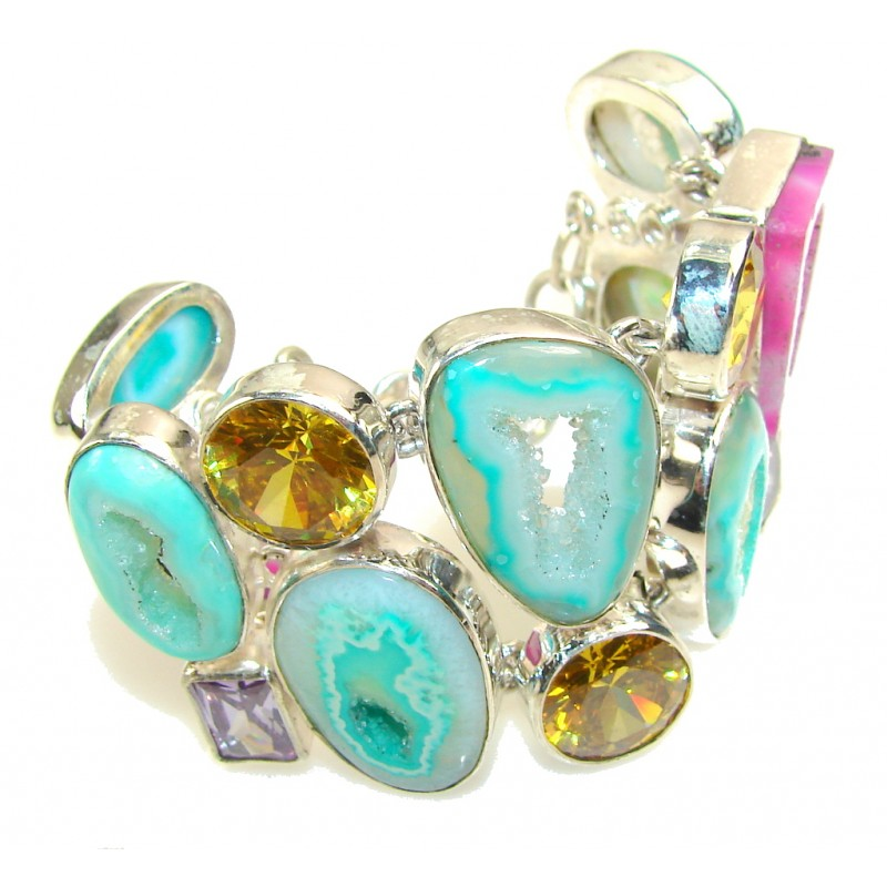 Multicolor Secret!! Agate Druzy Sterling Silver Bracelet