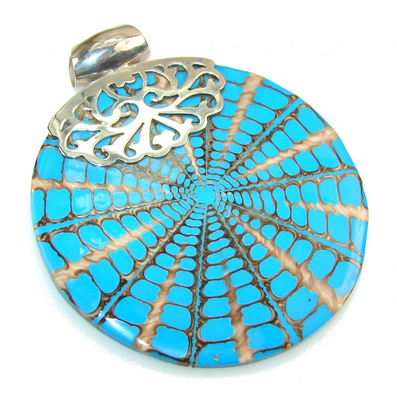 Big! Classy Blue Ocean Shell Sterling Silver Pendant