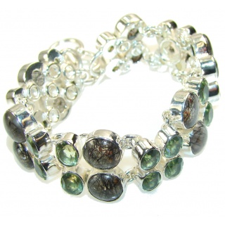 Natural Beauty!! Tourmalinated Quartz Sterling Silver Bracelet