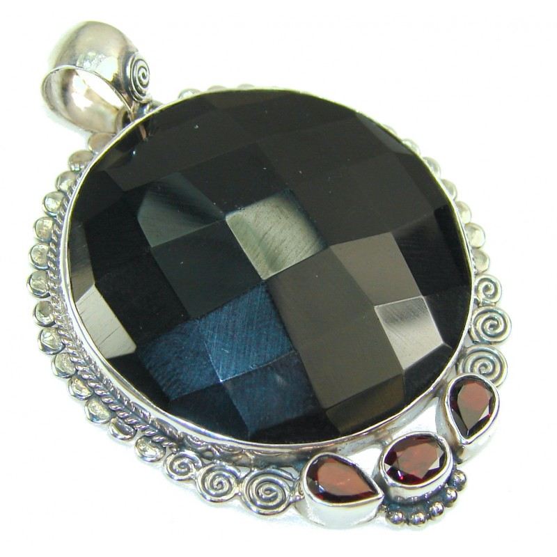 Gentle Black Onyx Sterling Silver Pendant