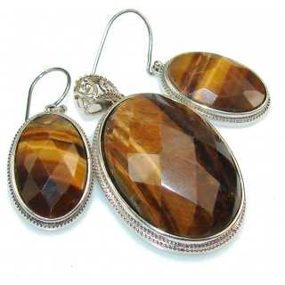 Beautiful Tigers Eye Sterling Silver earrings / Set