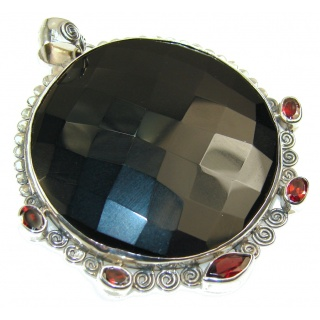 Big!! Secret Black Onyx Sterling Silver Pendant