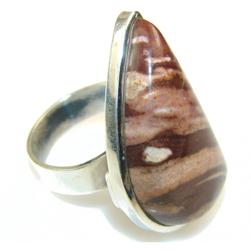 Excellent Brown Nugget Jasper Sterling Silver Ring s. 7 1/2