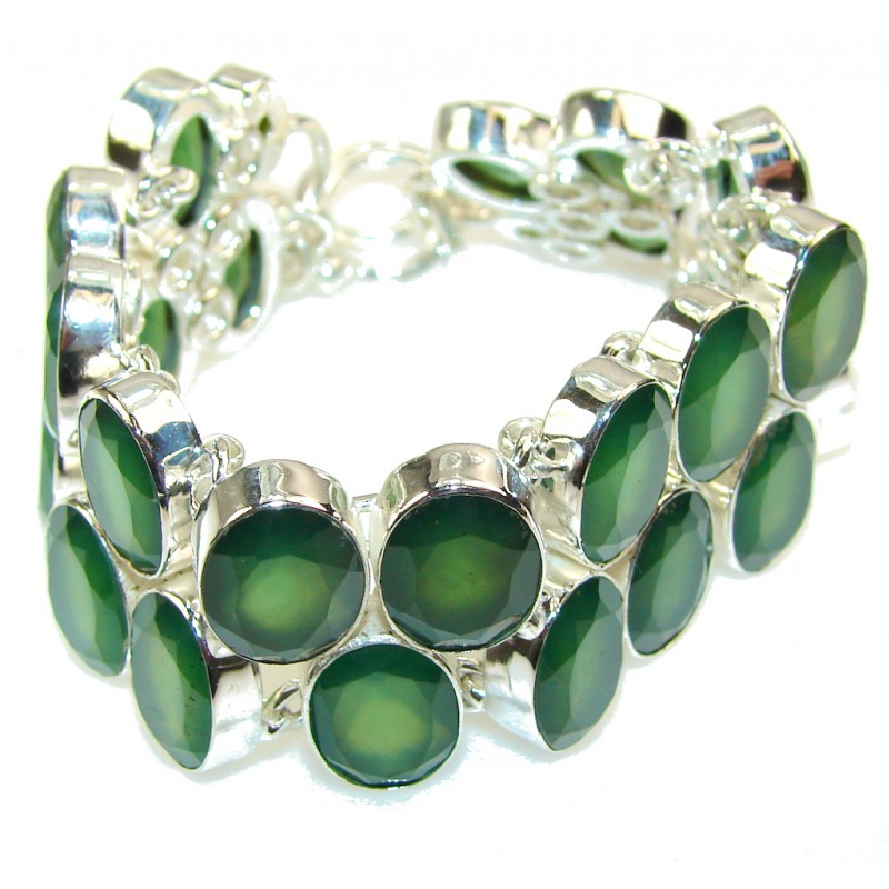 Natural Beauty!! Green Aventurine Sterling Silver Bracelet