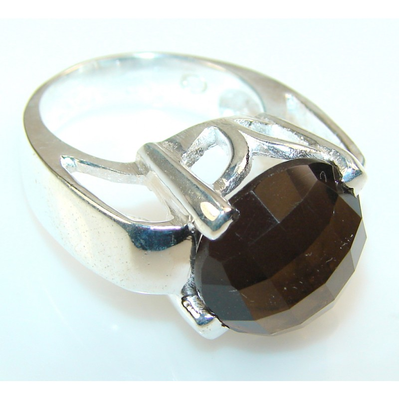 Excellent Smoky Topaz Quartz Silver Tone Ring s. 7 1/4