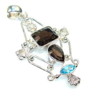 Excellent Smoky Topaz Sterling Silver Pendant