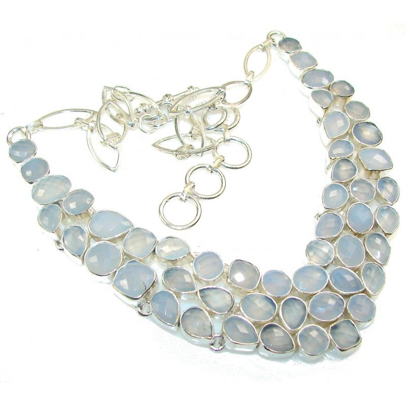 Delicate Light Blue Agate Sterling Silver necklace