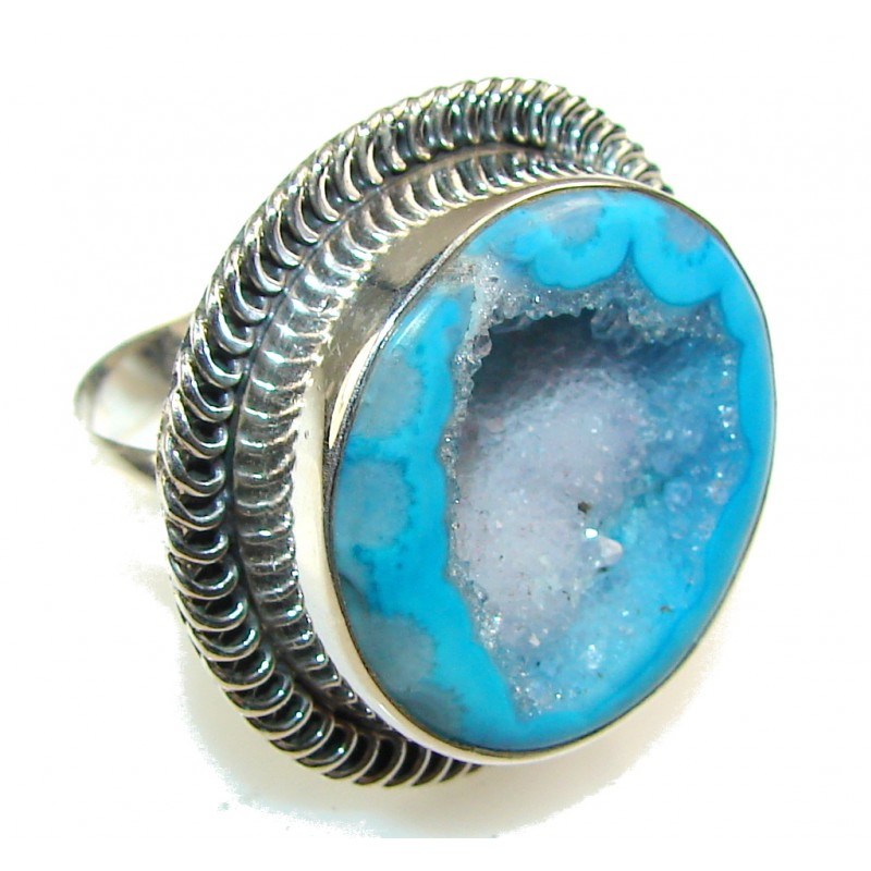 Unige Blue Agate Druzy Sterling Silver Ring s. 10 1/2