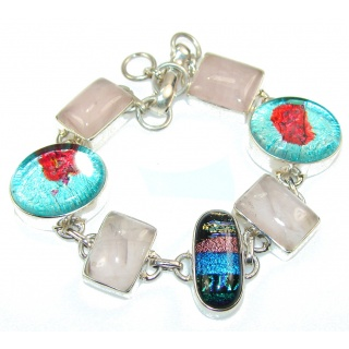 Unusal Style Of Dichroic Glass Sterling Silver Bracelet