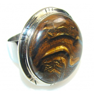 Grand Taxco!! Golden Tigers Eye Sterling Silver Ring s. 6