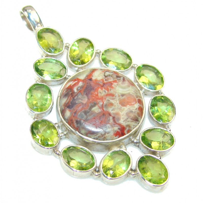 Fantastic Rainforest Jasper Sterling Silver Pendant