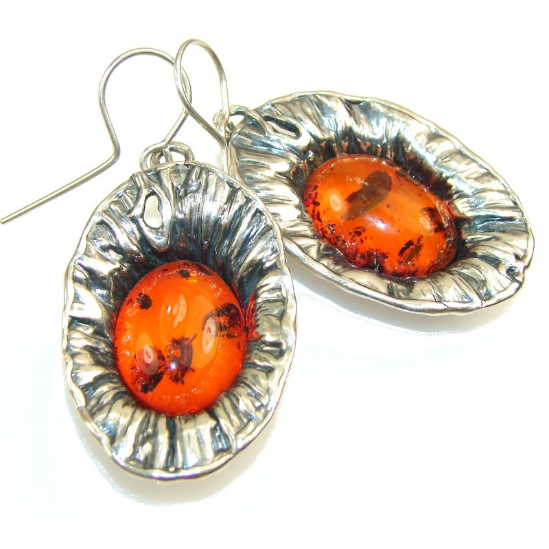 Big!! Fantastic Polish Amber Sterling Silver earrings