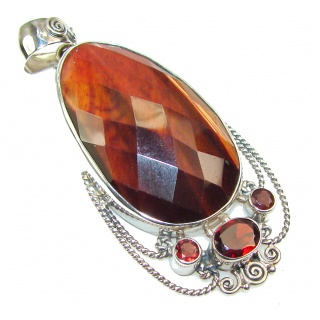 Gorgeous Red Tigers Eye Sterling Silver Pendant