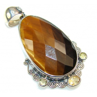 Beautiful Golden Tigers Eye Sterling Silver Pendant
