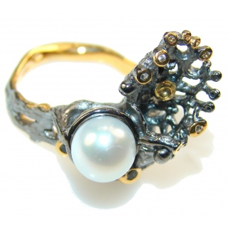 Delicate Italy Made Fresh Water Pearl Rhodium Plated 18ct Gold Sterling Silver ring; 8