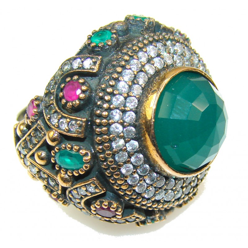 Empress Garden!! Green Emerald Sterling Silver Ring s. 9