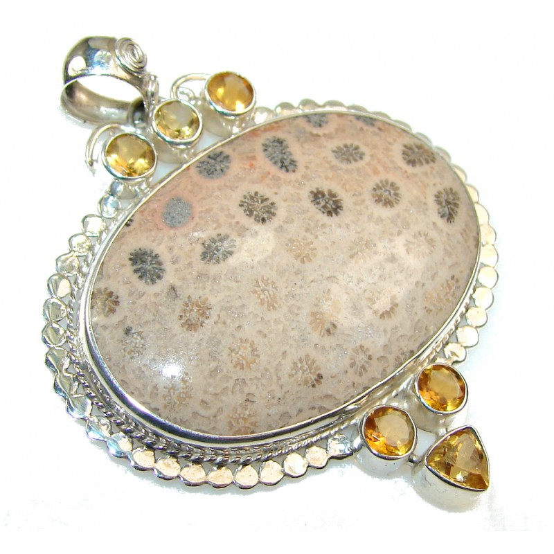 Excellent Fossilized Coral Sterling Silver pendant