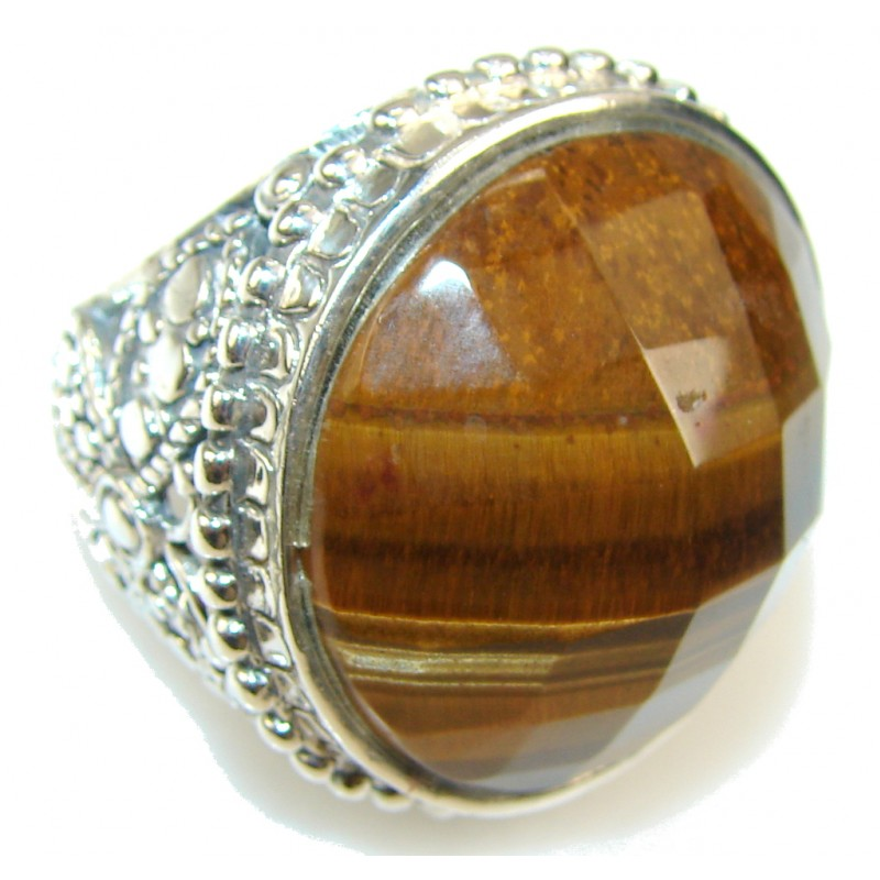 Big!! Stylish Tigers Eye Sterling Silver Ring s. 8 3/4