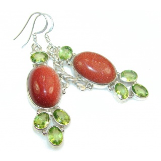 Passion Red Sun Sitara Sterling Silver Earrings