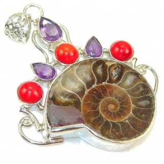 Big! Gorgeous Design!! Ammonite Fossil Sterling Silver Pendant