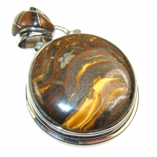 Petite Golden Tigers Eye Sterling Silver Pendant