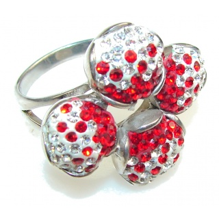 Promise Of Love!! Created Red Garnet Sterling Silver ring s. 9