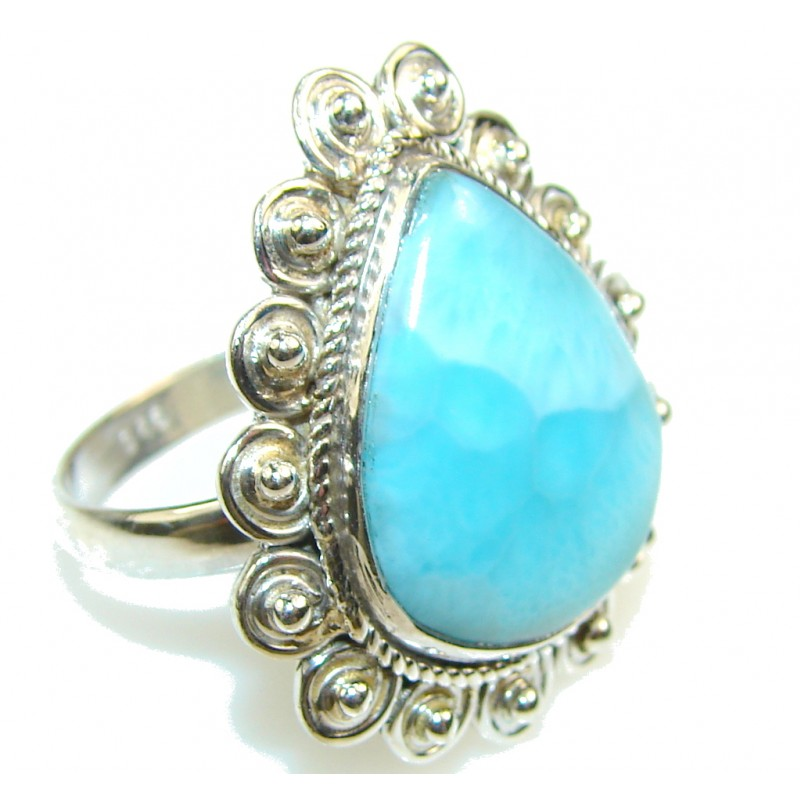 Natural Light Blue Larimar Sterling Silver Ring s. 9 1/4