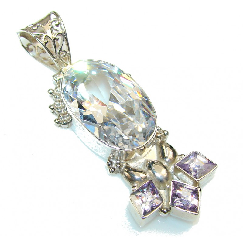 Distant Hill!! White Topaz Sterling Silver Pendant