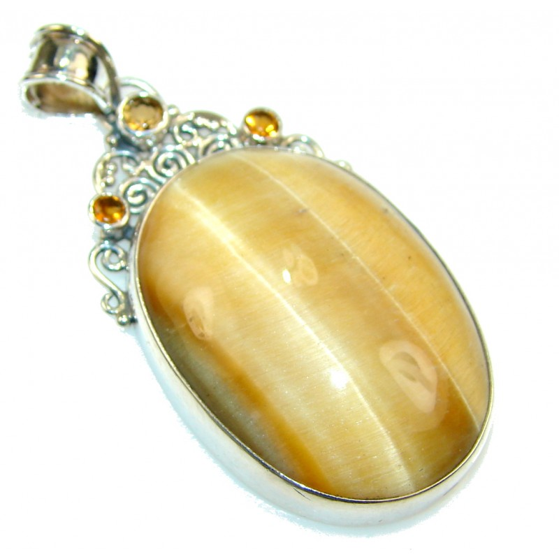 Awesome Color Of Light Brown Tigers Eye Sterling Silver Pendant