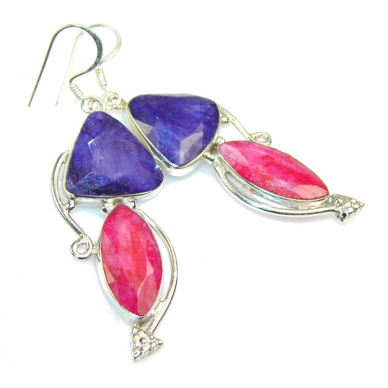 Pink Ruby Jewellery: Excellent Pink Ruby Sterling Silver Earrings - 9.00g