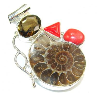 Big! Stylish Design!! Ammonite Fossil Sterling Silver Pendant