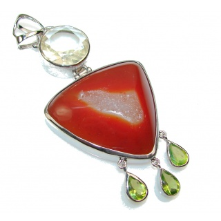 World Of Beauty Agate Druzy Sterling Silver Pendant