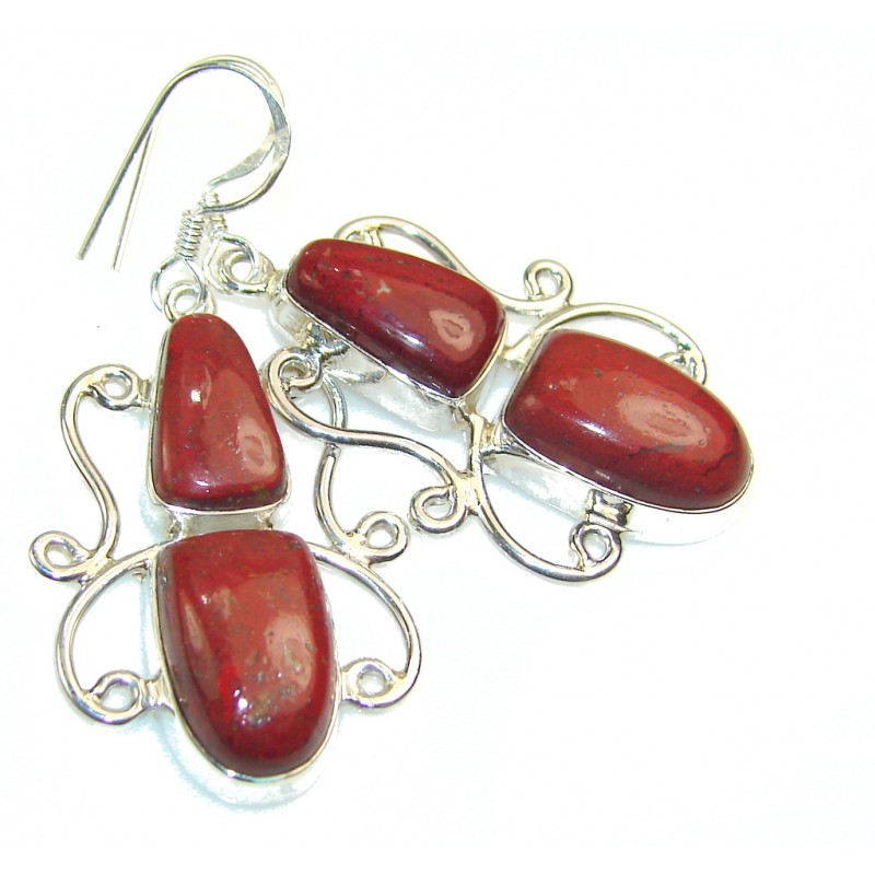 Excellent Red Jasper Sterling Silver earrings
