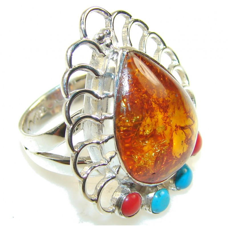 Stylish Brown Polish Amber Sterling Silver Ring s. 8 1/4