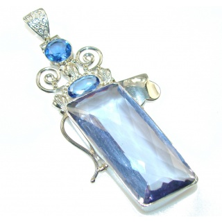 Big! Fantastic Multicolor Quartz Sterling Silver Pendant
