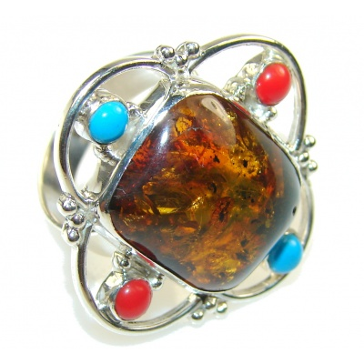 Stylish Brown Amber Sterling Silver Ring s. 9