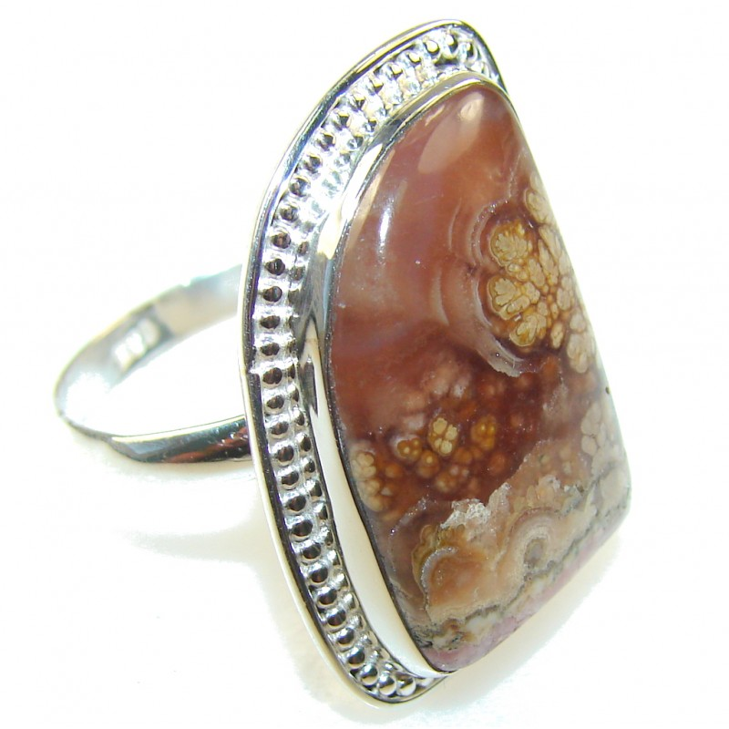 Secret Brown Rhodochrosite Sterling Silver ring s. 11