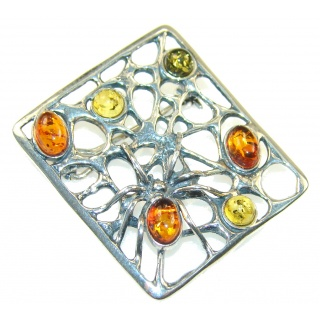 Stylish Multicolor Polish Amber Sterling Silver Pendant / Brooch